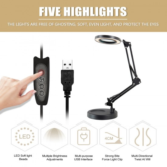 5X Magnifying Glass Desk Lamp Magnifier LED Light Foldable Reading Lamp with Three Dimming Modes USB Power Supply