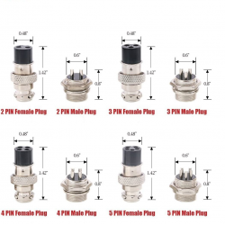 14pcs/box 2 3 4 5 6 7 8 Pin 16mm Thread Male Female Panel Metal Aviation Wire Wire Connector Plug Assortment Kit