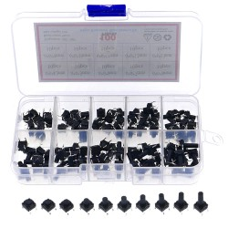 100pcs /Box 10value 6x6 Waterproof Tact Switch TV Induction Cooker Button Copper Foot Dustproof Micro Switch