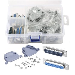 10Pcs(5 Pair) DB25 Female to Male Solder Type Connectors Double Row 25 core Welding Line and 10Set Gray Plastic Hoods RS232 kit