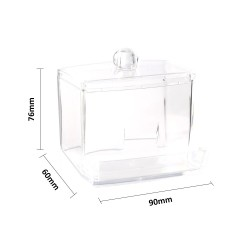 Transparent Acrylic Cotton Swabs Storage Holder Box Portable Makeup Cotton Pad Cosmetic Container Jewelry Organizer Case