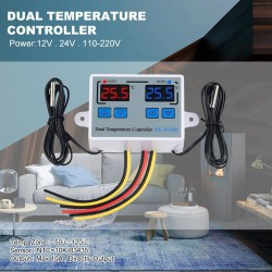 Dual Digital Thermostat Temperature Controller Two Relay Output Thermo regulator for incubator Heating Cooling AC110-220V